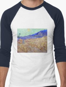 Vincent van Gogh Wheatfield with a Reaper Men's Baseball ¾ T-Shirt