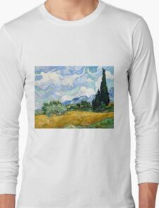 Vincent van Gogh Wheatfield with Cypresses Long Sleeve T-Shirt