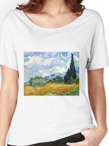 Vincent van Gogh Wheatfield with Cypresses Women's Relaxed Fit T-Shirt