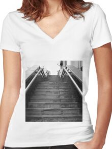 A Set Of Black And White Marble Stairs Women's Fitted V-Neck T-Shirt