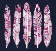 geo feathers hot pink Kids Tee