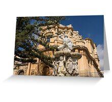 Noto Sicilian Baroque - Church of San Domenico on a Bright Sunny Day Greeting Card