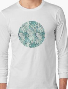 Fig Leaf Fancy - a pattern in teal and grey Long Sleeve T-Shirt