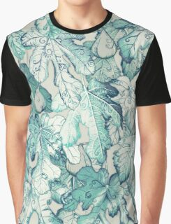Fig Leaf Fancy - a pattern in teal and grey Graphic T-Shirt