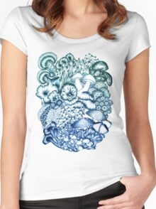 A Medley of Mushrooms in Blue Women's Fitted Scoop T-Shirt