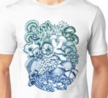 A Medley of Mushrooms in Blue Unisex T-Shirt