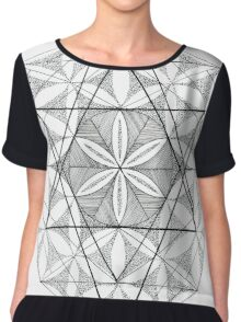 Flower of Life Sacred Geometry - Abstract Chiffon Top