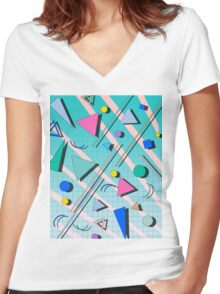 80s pop retro pattern 4 Women's Fitted V-Neck T-Shirt