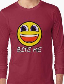 Smile Bite Me - Passive Aggressive Smiley Face Geek Long Sleeve T-Shirt