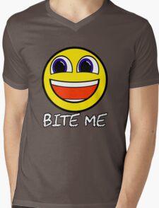 Smile Bite Me - Passive Aggressive Smiley Face Geek Mens V-Neck T-Shirt