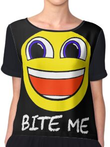 Smile Bite Me - Passive Aggressive Smiley Face Geek Chiffon Top