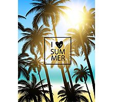 I love summer design with palms and ocean view. Photographic Print