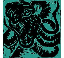 Octopus - Museum Linocut Collection Photographic Print
