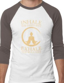 Yoga with cat - inhale - exhale Men's Baseball ¾ T-Shirt