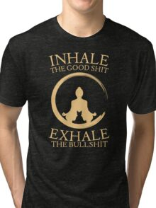 Yoga with cat - inhale - exhale Tri-blend T-Shirt