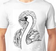 Swan with Patterned Border Unisex T-Shirt
