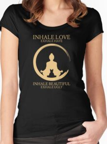 Inhale exhale Yoga With Cat Women's Fitted Scoop T-Shirt
