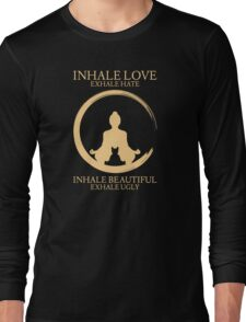 Inhale exhale Yoga With Cat Long Sleeve T-Shirt
