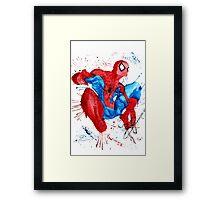 Spider-Man Watercolor Splash Framed Print