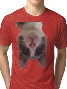 Crazy Gracie Upside Down Kitty Tri-blend T-Shirt