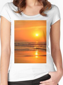 Sun in the beach at sunset Women's Fitted Scoop T-Shirt