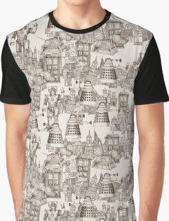 walking doodle toile de jouy sepia Graphic T-Shirt