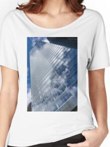 Glossy Glass Reflections - Skyscraper Geometry With Clouds - Left Women's Relaxed Fit T-Shirt