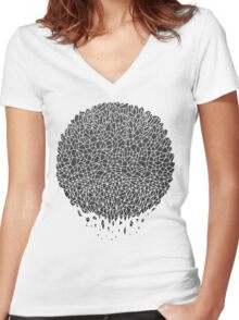 Black Sphere Women's Fitted V-Neck T-Shirt
