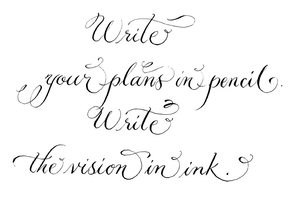 Write your plans inspirational handwritten quote by Melissa Goza