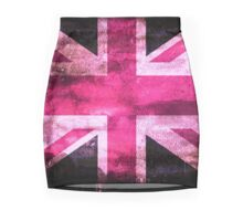 Pink United Kingdom Flag with Grunge Effect Mini Skirt