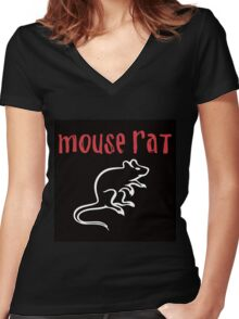 Mouse Rat- Parks and Rec Women's Fitted V-Neck T-Shirt