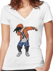 DabGoku Women's Fitted V-Neck T-Shirt