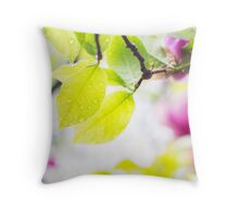 Wet leaves with raindrops Throw Pillow