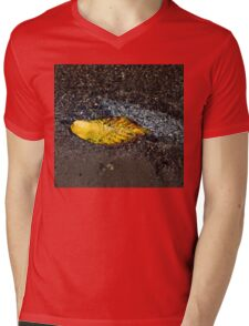 Submerged Beauty - Sunny Ripples on a Multicolored Cherry Leaf Mens V-Neck T-Shirt