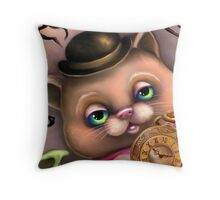 Steampunk Cat in a Bowler Hat - Goth Kitty Throw Pillow