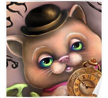 Steampunk Cat in a Bowler Hat - Goth Kitty Poster