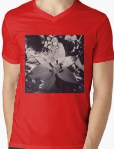 Flower Black and White Mens V-Neck T-Shirt