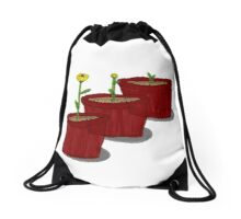 Growing Flower | Potted Plant Design | Garden and Nature Drawstring Bag