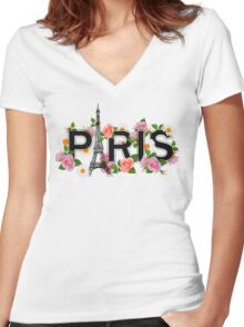 Paris and flowers. Eiffel tower, roses, chamomiles. Women's Fitted V-Neck T-Shirt