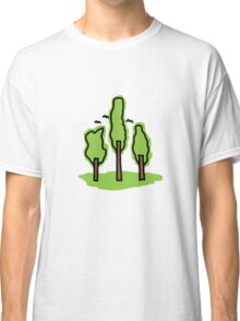 Three Trees Simple Line Art Design 2 | Garden and Nature Classic T-Shirt