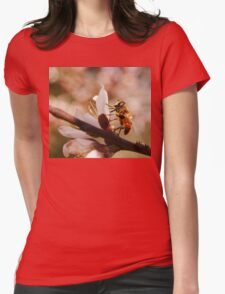 bee on peach blossom in spring T-Shirt