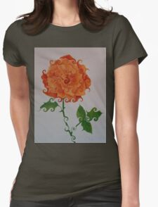 ORANGE CURLICUE ROSE Womens Fitted T-Shirt