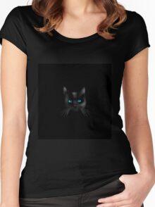 Black cat blue eye Women's Fitted Scoop T-Shirt