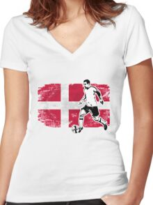 Soccer - Fußball - Denmark Flag Women's Fitted V-Neck T-Shirt