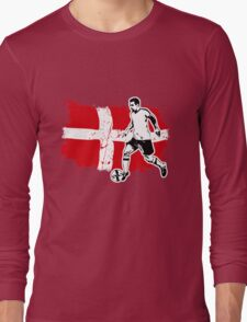 Soccer - Fußball - Denmark Flag Long Sleeve T-Shirt