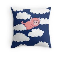 Flying Pig when Pigs fly Throw Pillow