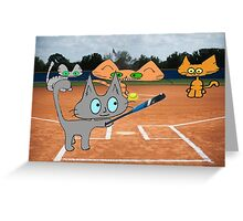 Cats Play Playing Sofball Greeting Card