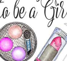 Girly Girl Hand Painted Watercolor Makeup on Pink Sticker