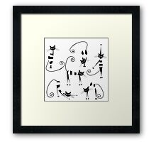 Amusing cats design set Framed Print