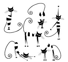 Amusing cats design set Photographic Print